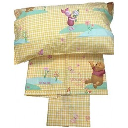 Completo Lenzuola 1 Piazza Puro Cotone Made in Italy Dis. Winnie The Pooh