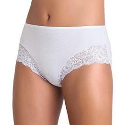 Cotonella Women's L'Altra White Floral Lace Cotton 2 Pack Brief