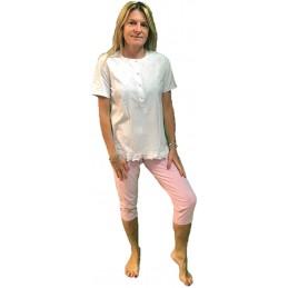Linclalor Pigiama Manica Corta Pantalone A Pinocchietto Puro Cotone Art. 73537