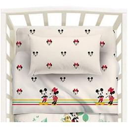 Completo lenzuola baby per lettino disegno Disney Minnie & Mickey, confezionato in scatola di cartone stampata