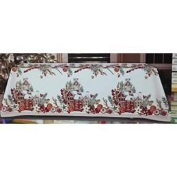 TAG HOUSE Tovaglia Puro Cotone di qualità Made in Italy Dis. Hansel Casette di Natele (Tonda 180 cm)