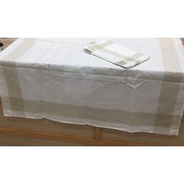 GENTEX Tovaglia antimacchia con tovaglioli (Bianco/Oro, 140 x 180 cm + 6 tovaglioli)