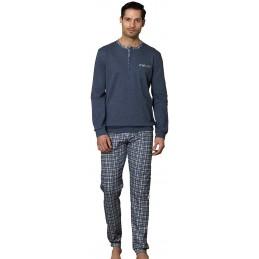 Linclalor Pigiama Uomo Caldo Cotone Pantalone Scozzese Art. 92363