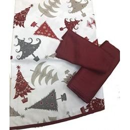 TOVAGLIA di Natale Quadrata + 4 TOVAGLIOLI Puro Cotone di QUALITA' Made in Italy